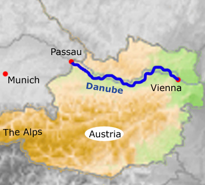 Guided Danube cycling holidays: Pau to Vienna | Mercurio ... on huang he map, germany map, thames map, black sea map, alps map, ebro map, euphrates map, vistula map, douro map, prague map, romania map, ganges map, rhone map, seine map, rhine map, volga map, elbe map, dnieper map, yangtze map, iberian peninsula map,