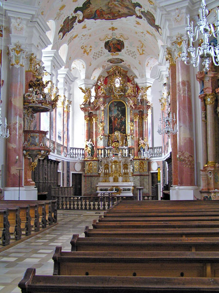 Inside the Liebfrauenkirche church in Gunzburg