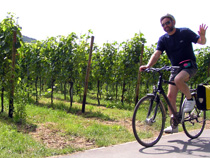 A cyclist on a guided cycling holiday in Germany and Austria